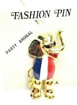 Patriotic Party Animal Republican Elephant Pin Red White Blue Enamel Vin... - $40.50