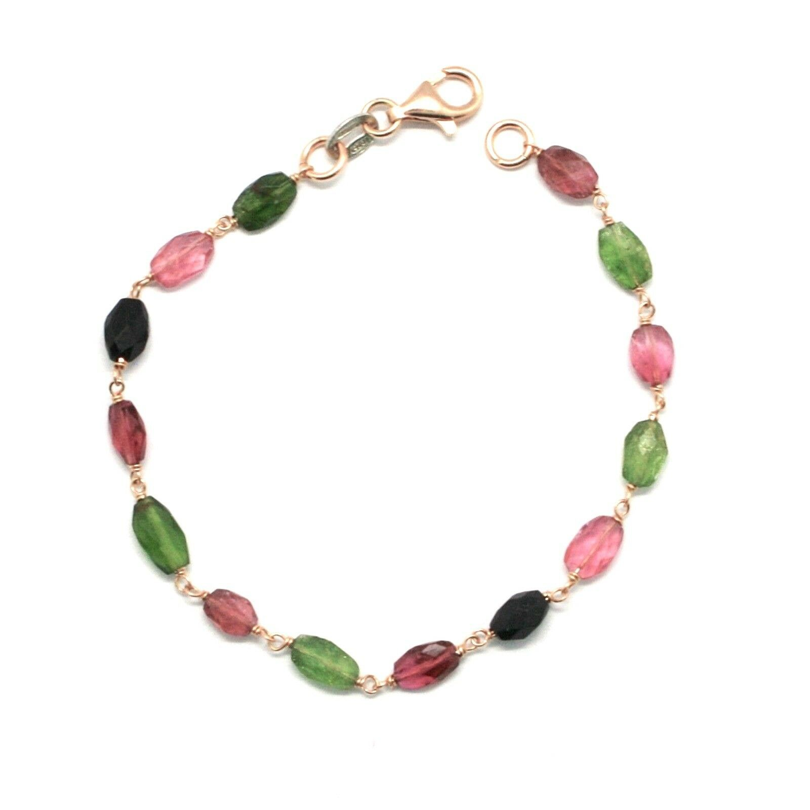 Silver Bracelet 925 with Tourmaline Green and Pink Faceted Made in Italy