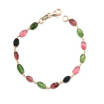 Silver Bracelet 925 with Tourmaline Green and Pink Faceted Made in Italy - $77.39