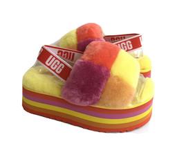 Ugg Fluff Yeah Disco Checker Slide Pride Rainbow Yellow Sandal Us 8 /EU 39 /UK 6 - $195.42