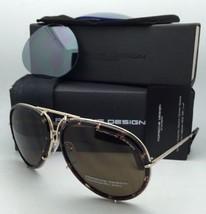 PORSCHE DESIGN Titanium Aviator Sunglasses P'8613 B Gold & Tortoise -2 Lens Sets