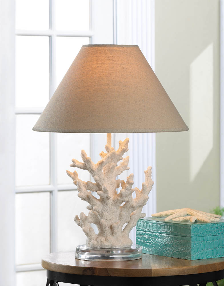 Desk Lamp, Contemporary White Coral Small Table Lamps For Bedroom