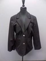 ST. JOHN SPORT Black Cotton Blend Two Button Collared Blazer Jacket Sz L... - $51.47