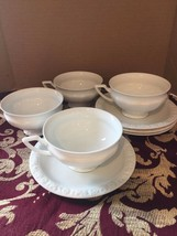 Rosenthal Maria White 4 Cup and Saucer Sets (12 Sided) Germany - Excelle... - $27.45