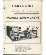 Vtg Tida Precision Bench Lathe TD-4A Parts List Machine Works Schematics - $39.99