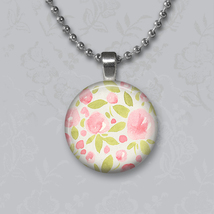Pink Watercolor Flowers Pendant - $14.95