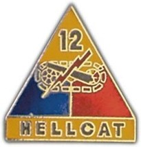 ARMY 12TH ARMORED DIVISION HELLCAT  MILITARY PIN - $13.53