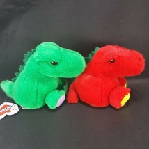 Dragon Red And Green Pair w/ Tags Pickles Drake Plush Stuffed Dinosaur 5... - $14.84