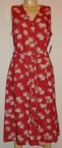 NWT Dusty Cedar Palm Dress Linen Cotton Button front Liz Claiborne L Sle... - $24.74