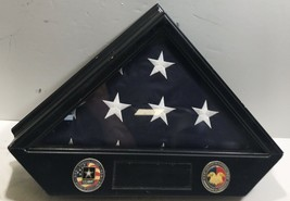 US Army American Soldier Memorial Flag InWood/Glass Case - $49.45