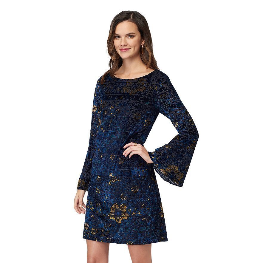 Primary image for New Indication By Eci Women Velvet Shift Dress Blue-Gold Size XS