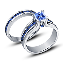 White Gold Plated 925 Sterling Silver Blue Sapphire Bridal Engagement Ri... - $89.99