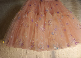 Blush Tiered Tulle Skirt A-line Puffy Skirt Plus Size Knee Length image 2