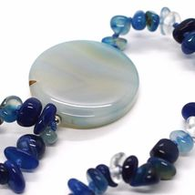 Long Necklace 90 cm, Agate Blue Banded Disco Big, Double Thread image 5