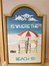 Home Is Where The Beach Is Wood 3D Sign Wall Plaque Adirondack Chairs Ocean - $39.99