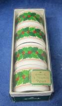 Vintage Hallmark Holly & Berry Napkin Rings Original Box  T77 - $18.32