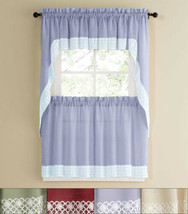 "Salem Kitchen Window Curtain w/ Lace Trim 24"" Tiers Swags & Valance Set - $35.99"