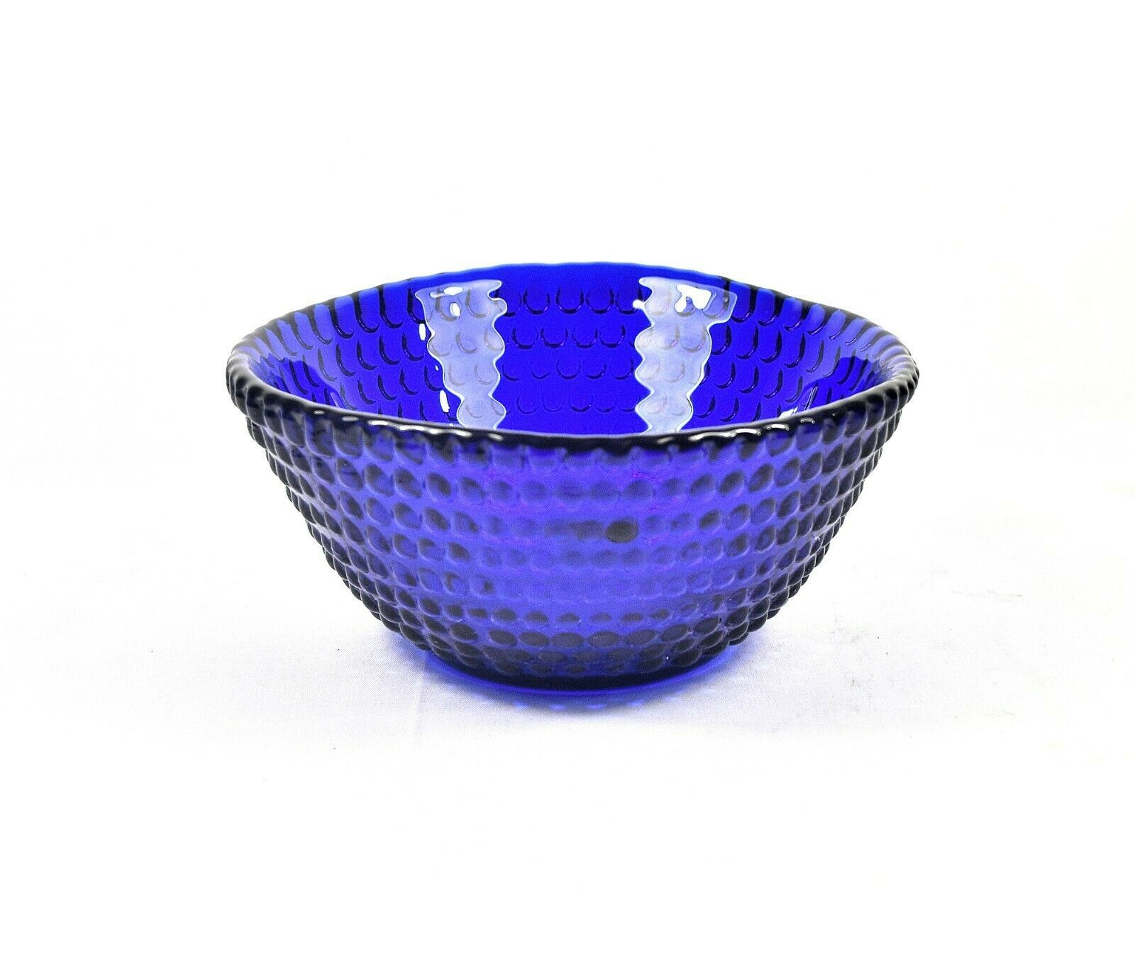 Handmade Cobalt Blue Hobnail Glass Bowl by Blenko – Signed by Richard Blenko - $35.18