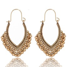 Vintage Ethnic Golden Silver Beads Hanging Dangle Drop Earrings for Women Female - $7.19