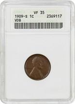 1909-S VDB 1c ANACS VF35 - Popular Key Date - Lincoln Cent - Popular Key... - $834.20