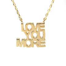SpinningDaisy Handcrafted LOVE YOU MORE Script Necklace Gold - $13.89