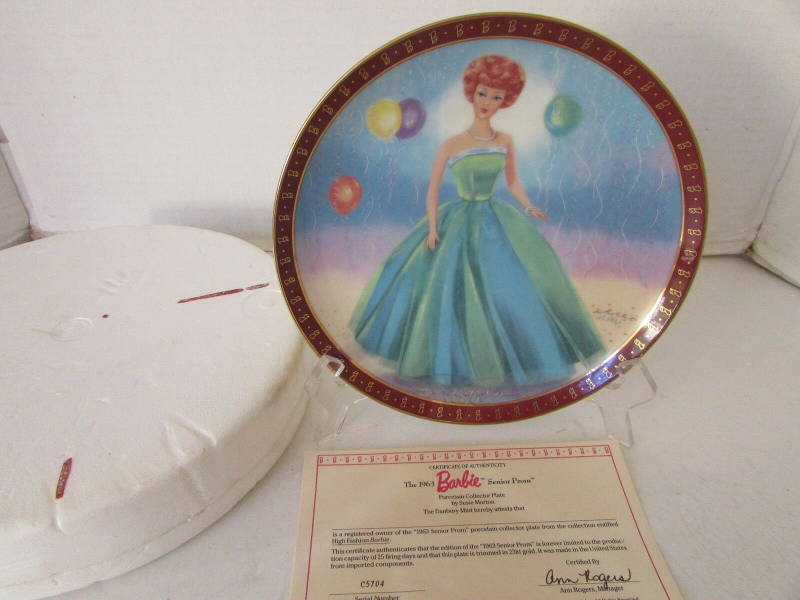 Primary image for DANBURY MINT  PLATE BARBIE SENIOR PROM HIGH FASHION BARBIE 5704 COA *SALE*