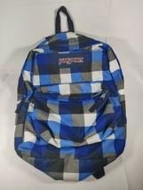 Jansport Blue Plaid Five Pocket Backpack School Bag excellent Condition! - $28.71
