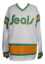 Custom Name # California Seals Retro Hockey Jersey New White Meloche 27 Any Size image 4