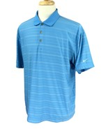 Nike Golf Men's Fit Dry Short Sleeve Blue Stripe Polo Shirt Large - $21.77