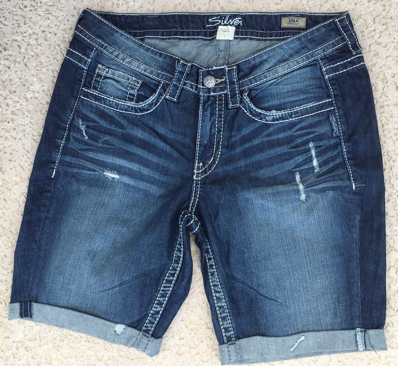 WOMENS SILVER JEANS SHORTS Low Rise Lola Dark Stretch Denim Jean Short Plus 14