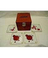 Dexter Blood Splatter Slides Coasters Set of 4 in Wooden Box Showtime m442 - $33.66