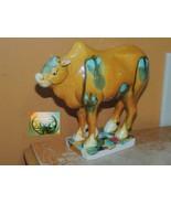 "Chinese Mud Ox Oxen Bull 5.5""x6.5"" Mudman Mud Man Tang style Sancai drip... - $31.49"