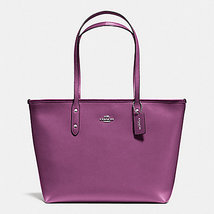 Coach City Zip Top In Leather F 36875 57522nwt SILVER/MAUVE Tote - $127.84