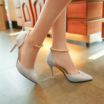 pp375 elegant pearl strappy pumps, nubuck leather, US Size 4-9,silver - $38.80