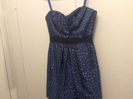 Beautiful BCBG Women Cocktail Party Prom Elengant Blue Polkadot Dress Sz 8 - $49.49