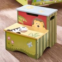 Kids Children's Sunny Safari Jungle Theme Wooden Storage Step Stool Zebra Lion - $54.40