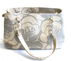 Chanel Silver & Beige Woven Coated Canvas Camellia Shoulder Bag 2003 - $1,732.50