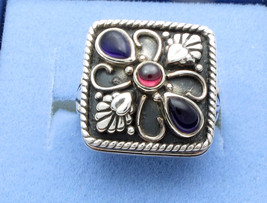 Sterling Silver Square Ring Set Amethyst and Garnet 7.8 grams - $27.01