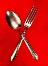 Ekco Kenilworth Dinner Fork & Place Spoon - Vintage Stainless Flatware - $12.87