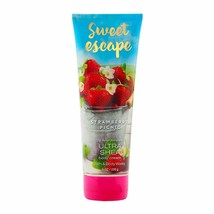Bath & Body Works SWEET ESCAPE STRAWBERRY PICNIC Body Cream 8oz New Free... - $17.65