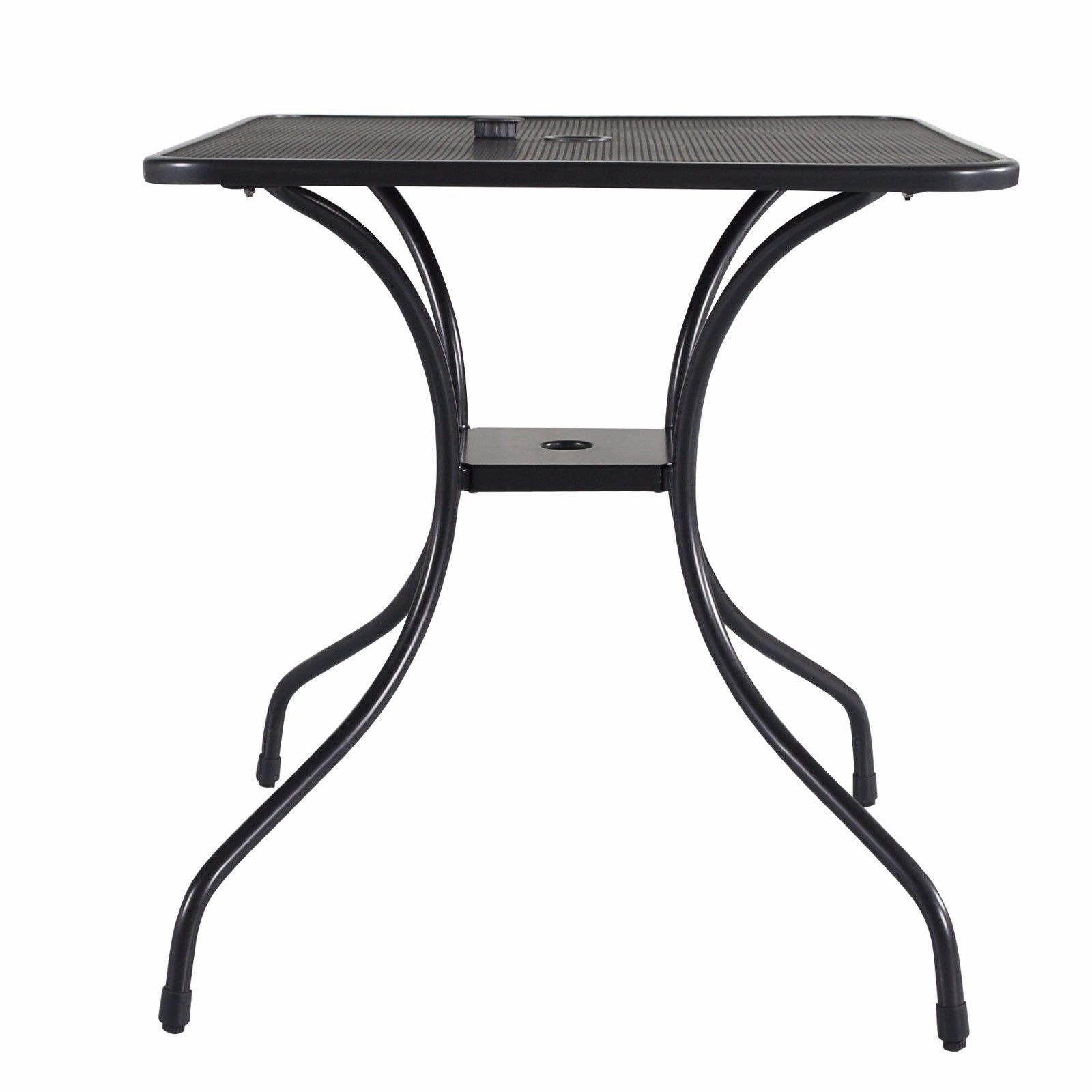 """3 PC Outdoor Bistro Patio Furniture Set Wrought Iron 28"""" Steel Rectangle Table"""