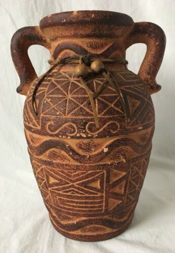 "Primary image for Vintage Terracotta Pottery Jug Vase Tribal Southwestern Unsigned As Is 10"" Tall"