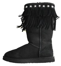 "UGG & JIMMY CHOO Black Suede Sheepskin ""SORA"" Fringed Winter Boots Size US8 - $219.38"