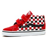 VANS Toddler Sk8 Mid Reissue Checkerboard Black/Racing Red, VN0A348JT4T - $40.00