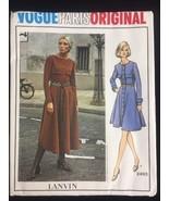 Vintage Vogue Paris Original Pattern 2493 Lanvin High Waist Dress Uncut ... - $37.20