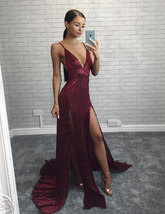 Sexy Deep V Neck Split Burgundy Long Prom Dresses Evening Dresses - $169.99+