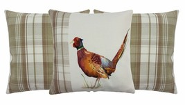 SET OF FILLED 3 EVANS LICHFIELD PAINTED ANIMALS PHEASANT STIRLING CUSHIONS - $63.46