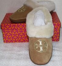 Tory Burch Coley Slipper Split Size 7 Royal Tan Suede Gold Logo $250 - £111.85 GBP