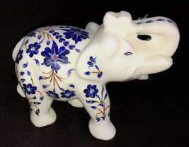 """MARBLE INLAY ELEPHANT 4"""" TALL FOR HOME DECOR AND GOOD LUCK - $235.00"""
