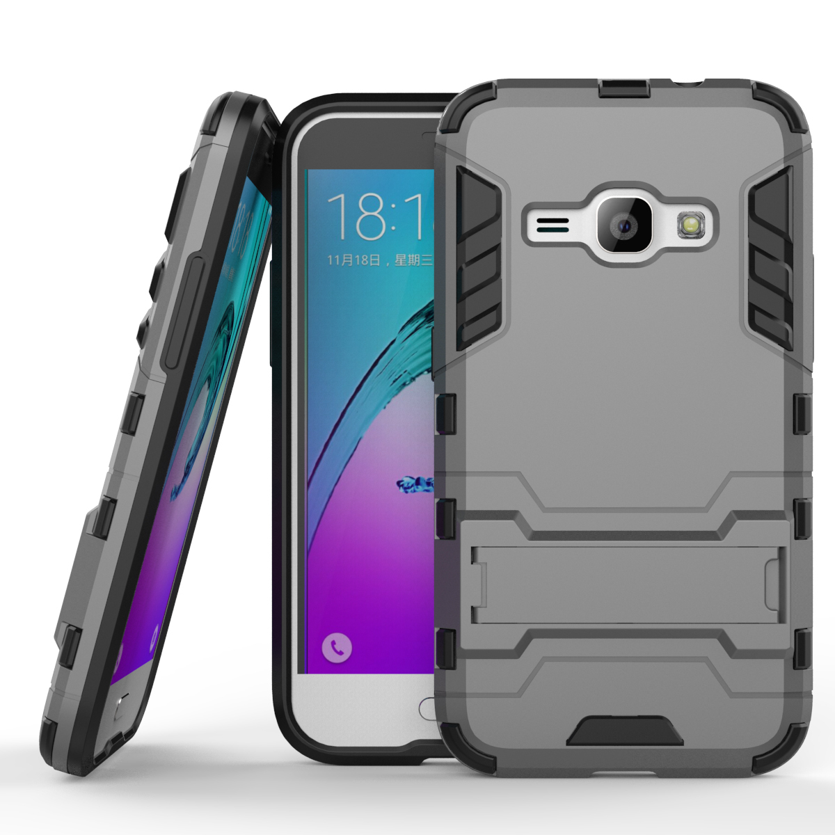 Layer hybrid kickstand protective case for samsung galaxy j1 2016 amp 2 gray p201608181615383120